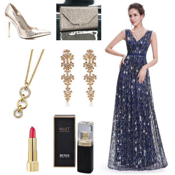 Tmavě modré večerní šaty se zlato-stříbrnými pajetkami
