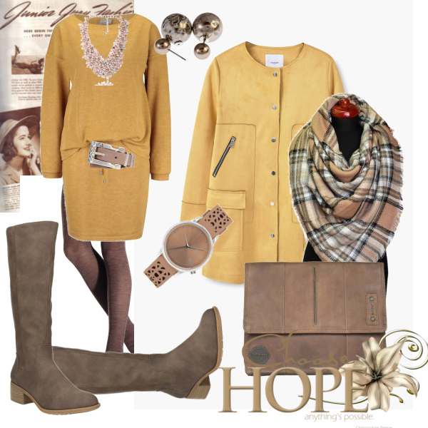 Žlutá v podzimním outfitu