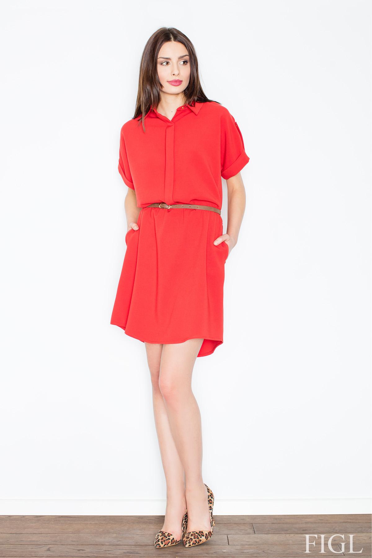 5008b54334ec FIGL Dámske červené šaty s krátkym rukávom M442 - Glami.sk