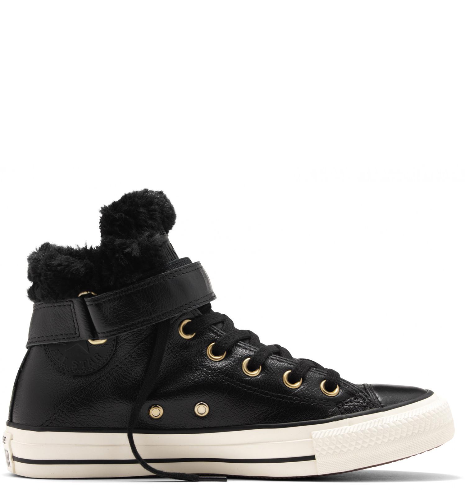 Converse černé kožené dámské boty Brea s kožíškem - 36 - Glami.cz bbc8b36950