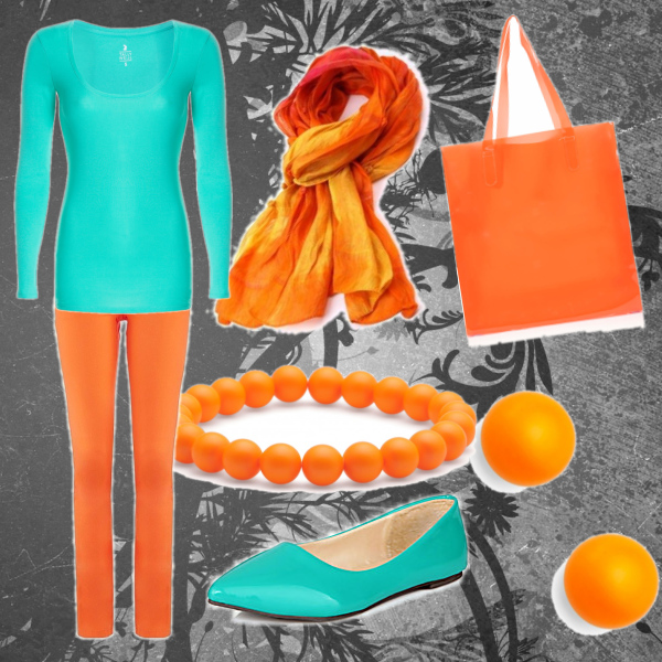 modro-oranžový set