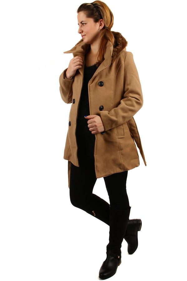 YooY Zimní kabát s kožešinovou kapucí - i pro plnoštíhlé (hnědá 683335ac76