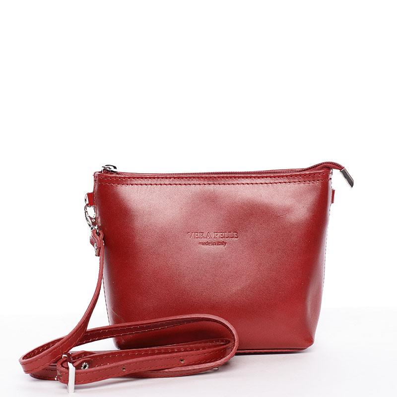 Dámská kožená crossbody kabelka červená - ItalY Garnet červená ... 8111f45dc12