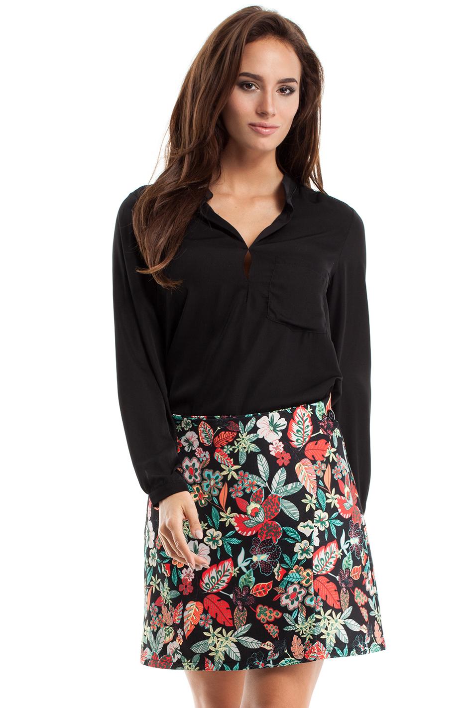 Černá květovaná sukně MOE 269 - Glami.cz 3b5fed5ffc