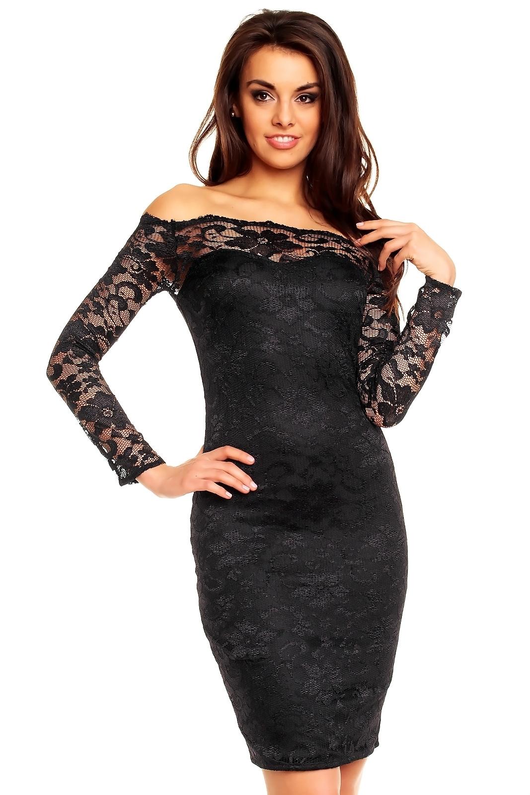 Dámské společenské šaty MAYAADI krajkové s dlouhým rukávem krátké černé. 1 b9f1cccf59d