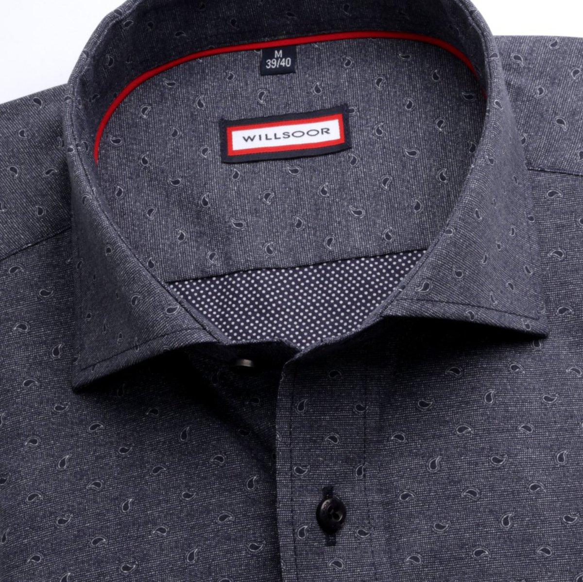 Willsoor Pánská slim fit košile (výška 176-182) 6981 v grafitové barvě s  formulí Easy Care a14c34635f