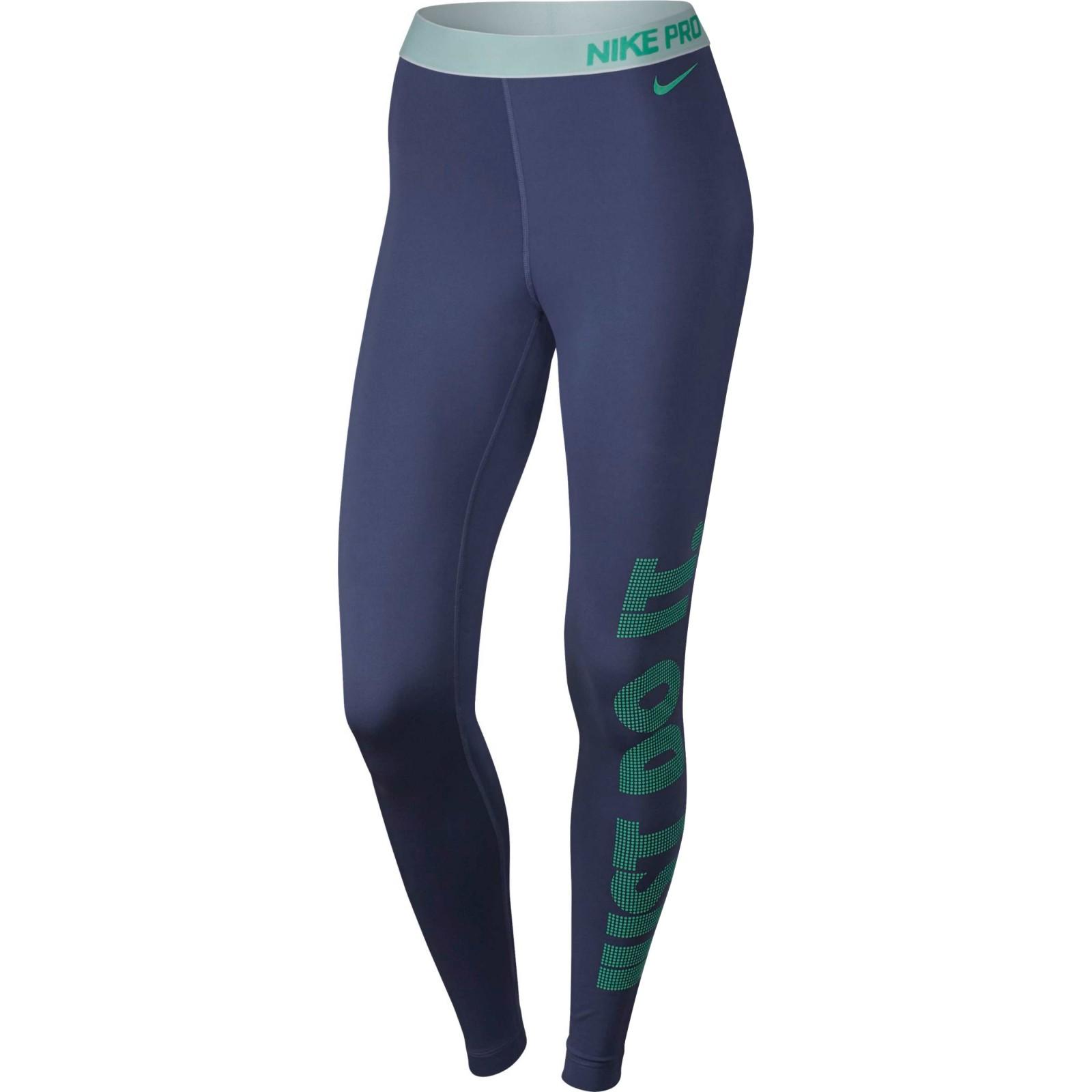 17b4453c7c0 Dámské legíny Nike W NP WM TGHT LOGO DK PURPLE DUST WHITE GREEN GLO ...