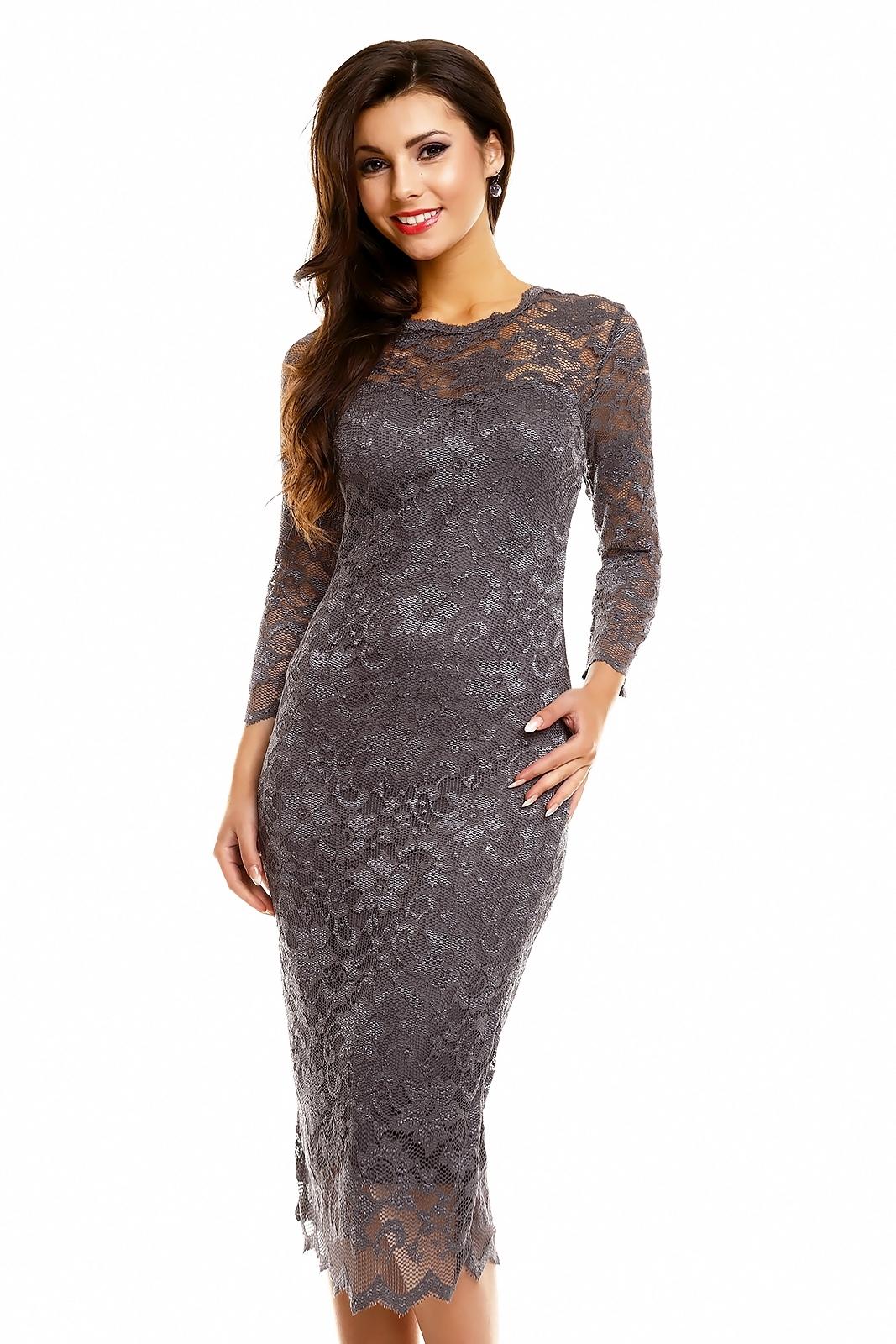 Společenské šaty MAYAADI krajkové s dlouhým rukávem středně dlouhé tmavě  šedé b18918e3e0