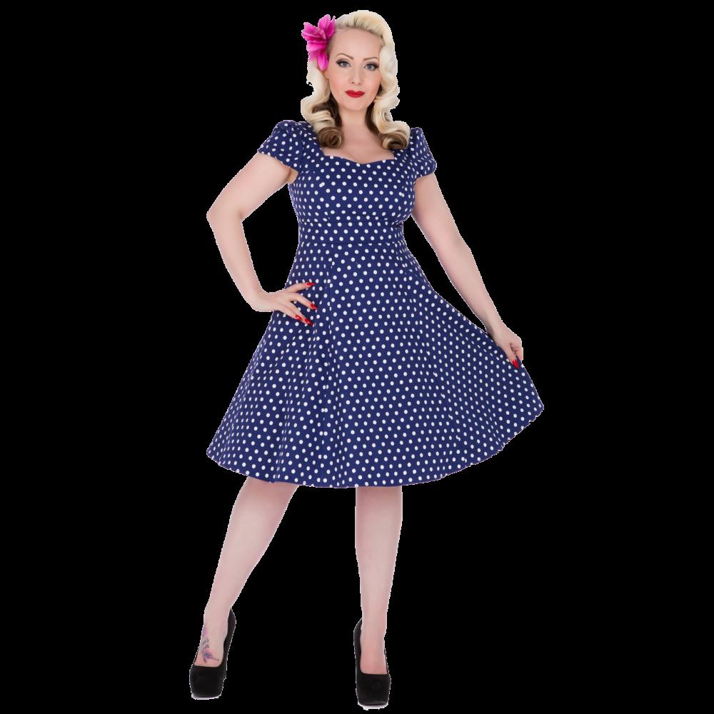 DOLLY AND DOTTY Dámské retro šaty Claudia modré s puntíky - Glami.cz bb074c5cd1