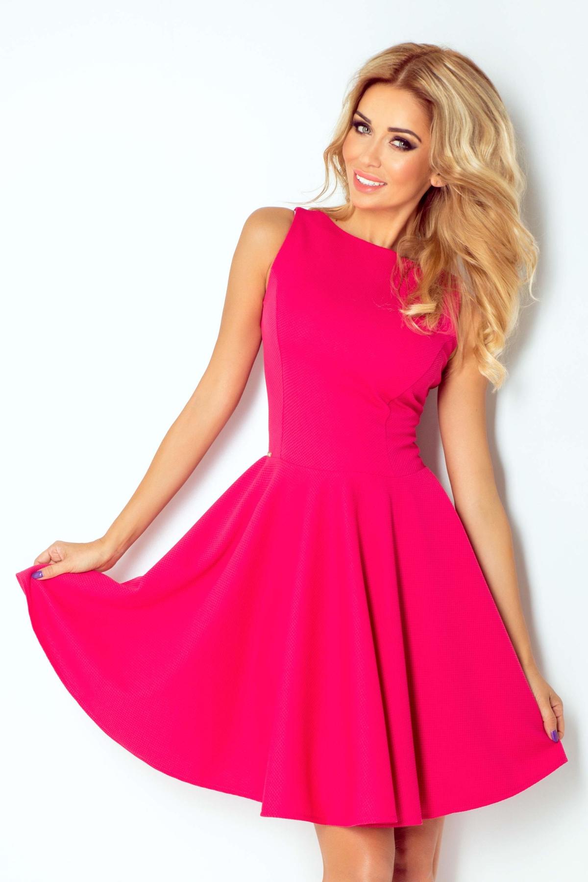 numoco Společenské a plesové exkluzivní šaty s kolovou sukní krátké malinové cdb1502e795