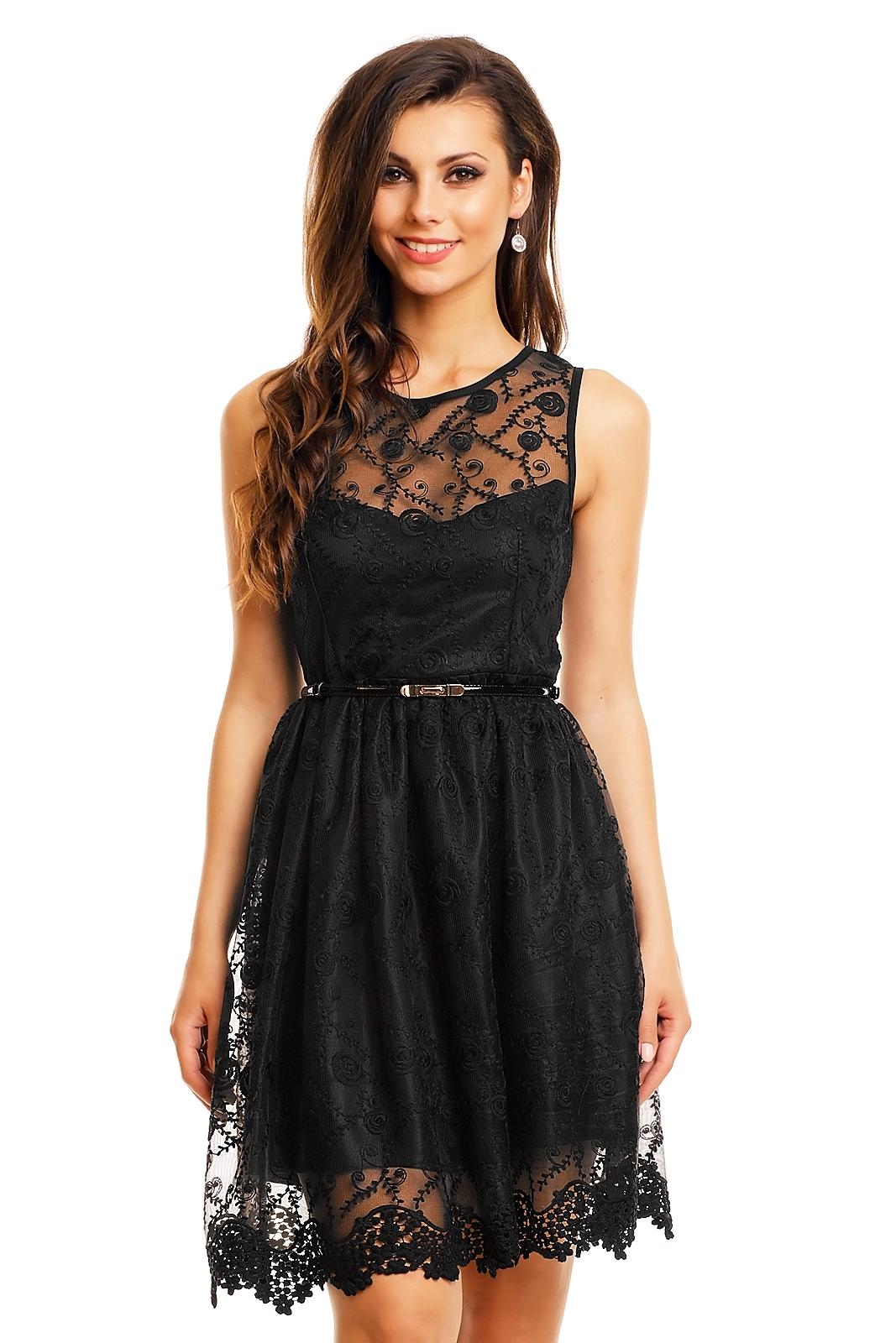 Společenské šaty MAYAADI krajkové s páskem středně dlouhé černé ... bee4659c04