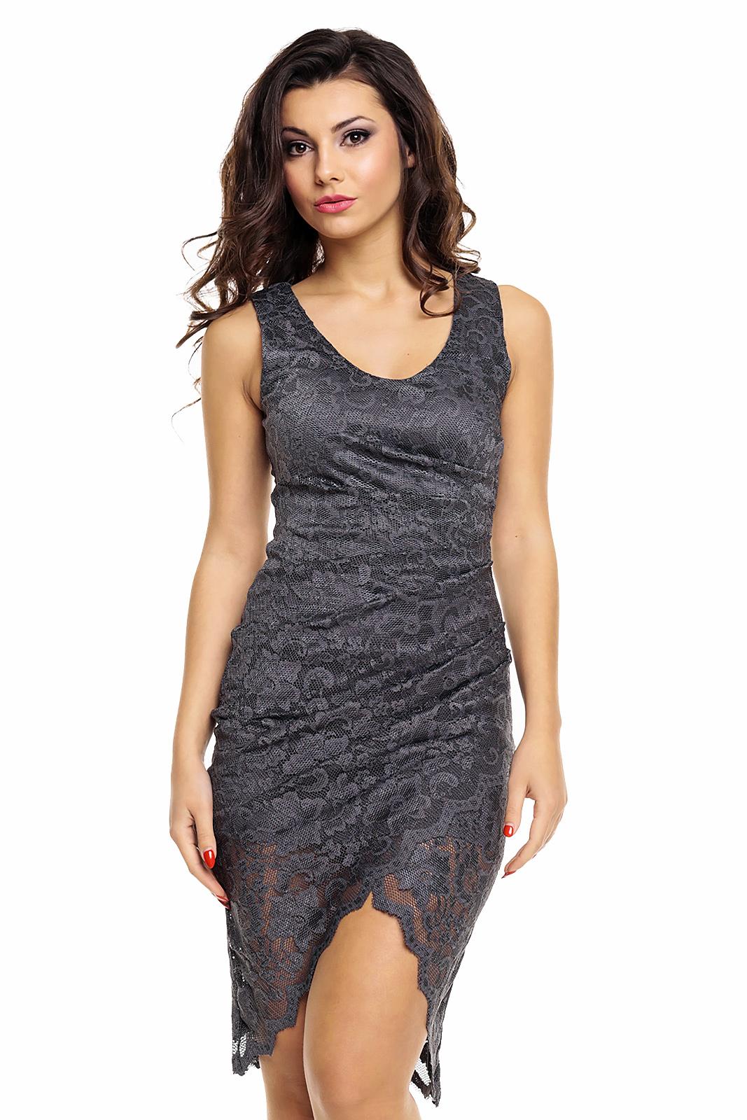 da1f2e3de72 Společenské a plesové šaty MAYAADI krajkové s asymetrickou sukní tmavě šedé.  1