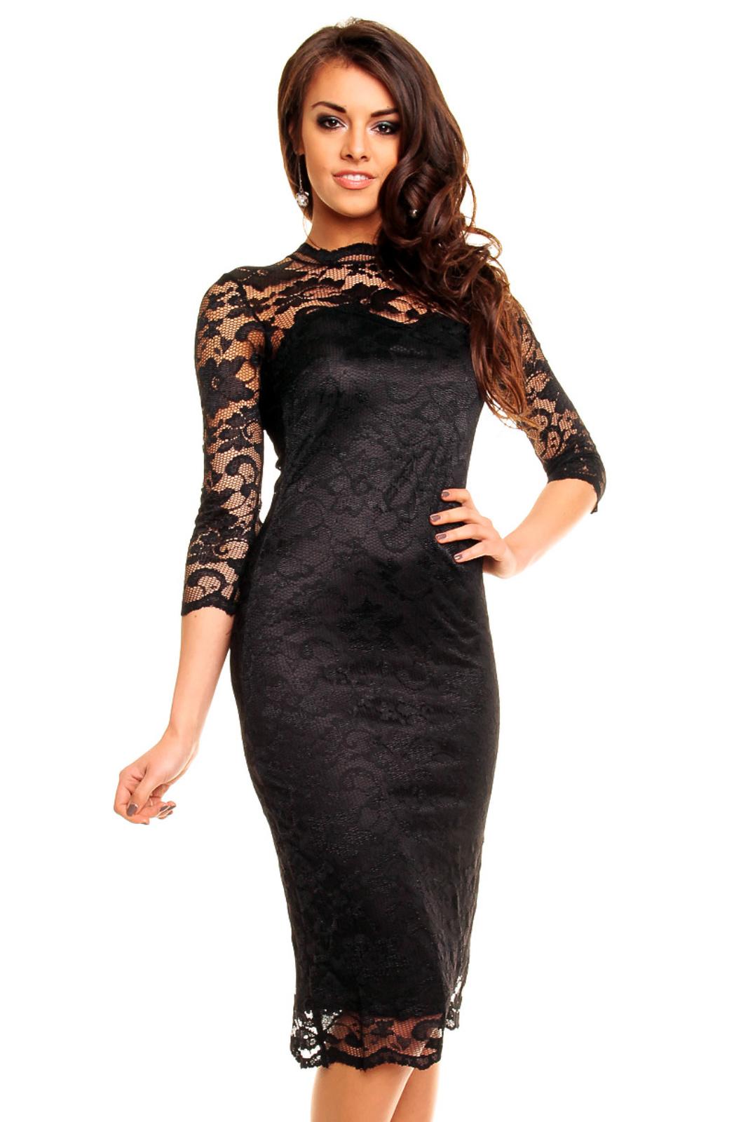 2b5ba689ab3 Společenské šaty MAYAADI krajkové s dlouhým rukávem středně dlouhé černé