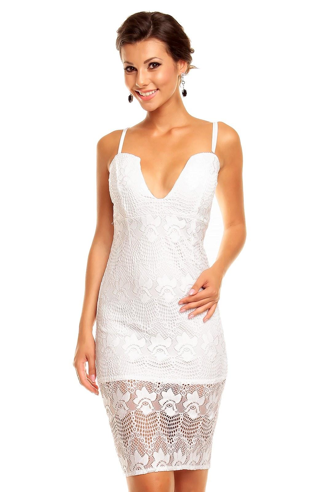 5f1753b64 Bílé krajkové šaty krátké - Glami.cz