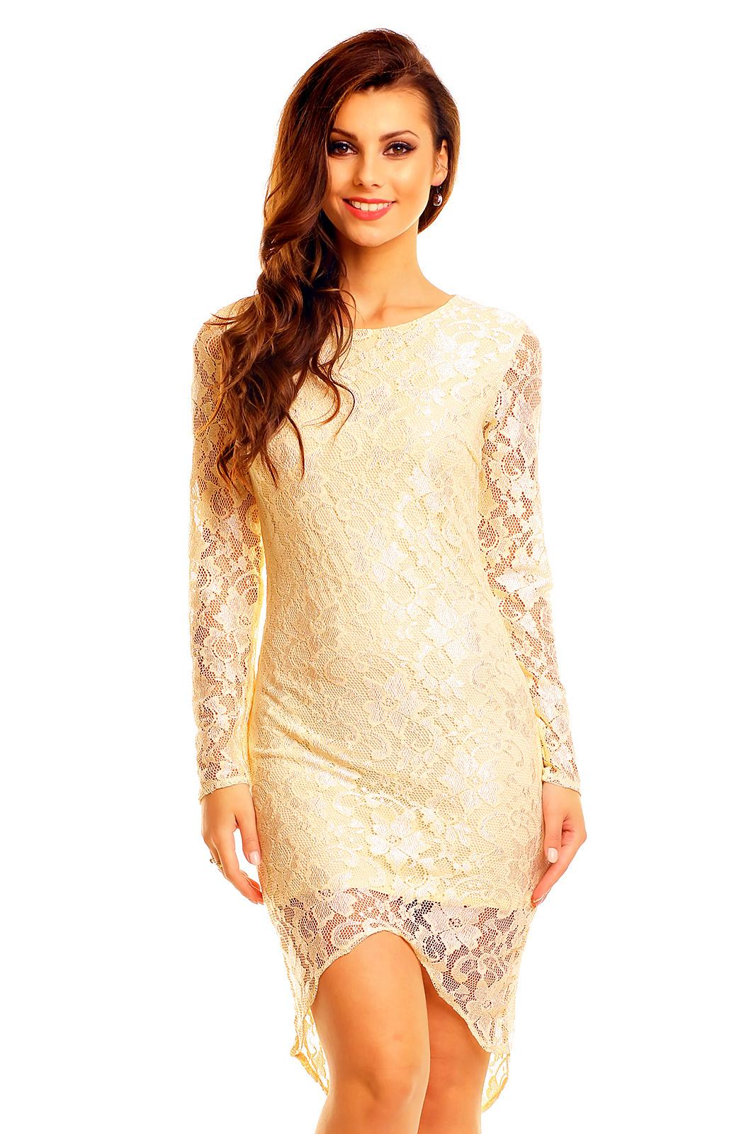 Společenské šaty MAYAADI krajkové s asymetrickou sukní krémové ... ffe922b971