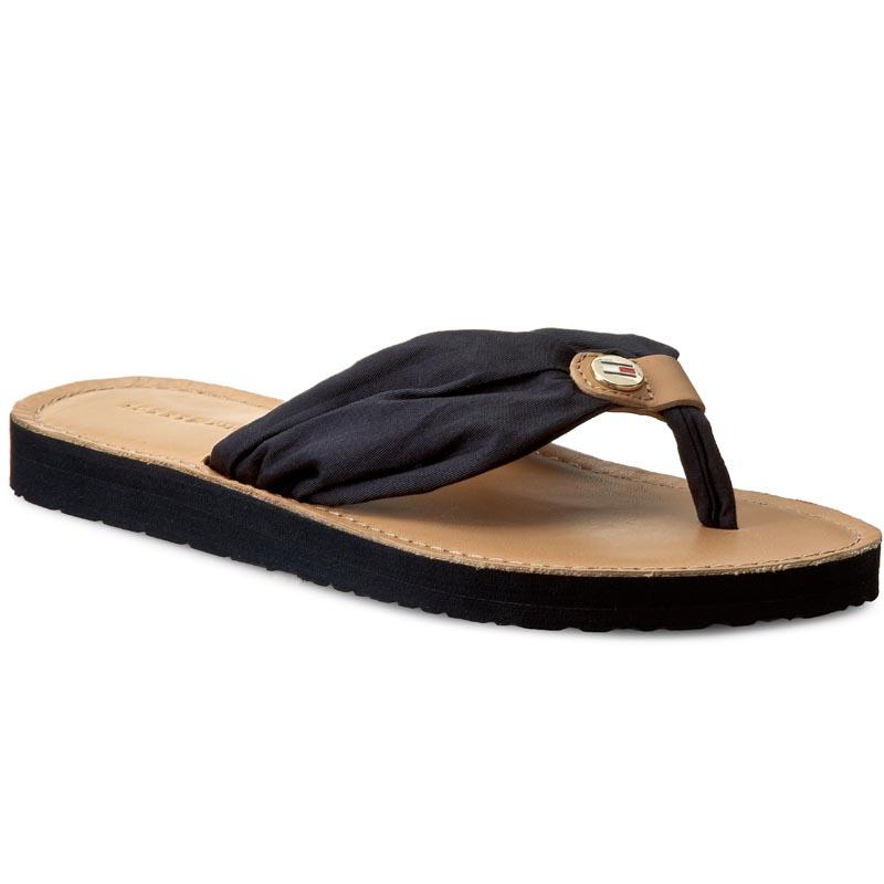 Žabky TOMMY HILFIGER - Leather Footbed Beach Sandal FW0FW00475 Midnight 403.  1 de6b6e24ef